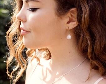 Tiny Rose Quartz Teardrop Earrings - Dangle Rose Quartz Earrings - Small Rose Quartz Bridesmaid Earrings - January Birthstone Earrings