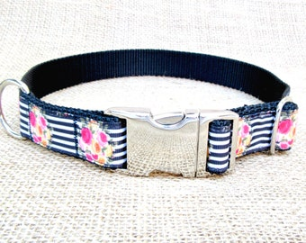 """Dog Collar: 1"""" Wide, Black Striped Floral with Metal Side Release Buckle"""