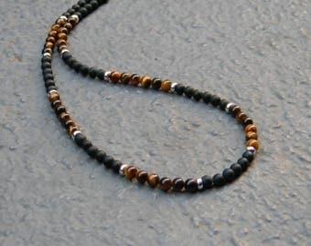 Matte Black Onyx, Tiger Eye, Sterling Silver Necklace, Mens Necklace, Womens, Mens Beaded Necklace, Minimalist Necklace, Mens 4mm Necklace