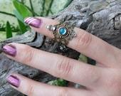 aqua midi ring armor ring aquamarine elfin cosplay turquoise claw ring festival goth victorian moon goddess pagan boho gypsy