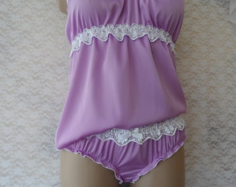 Set of purple silk cami and ruffled panties