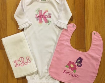 Personalized Baby Gown/Monogram Baby Gown/Personalized Burp Cloth/Personalized Baby Bib/Monogram Baby Item/Butterfly Bib and Burp Cloth