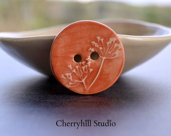XL Coriander Button in Orange, Ceramic Buttons, Extra Large Ceramic Button, Sew on Buttons, Haberdashery, Embellishments