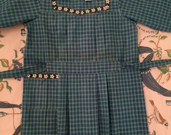 Vintage 1940 French school apron, tablier smock, plaid green blue .Old stock new like For clothing, collection ,costume,