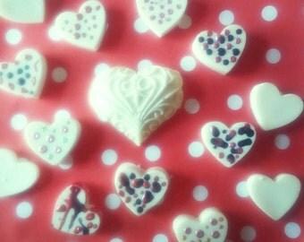 Hand painted Vegan white chocolate. Valentine's day is right around the corner
