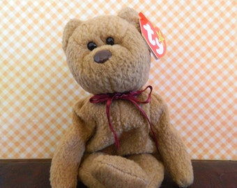 "TY Brown Bear Beanie Baby ""Curly"" (B)"