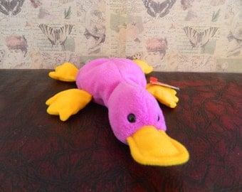 "TY Purple Platypus Beanie Baby ""Patti"" (B)"