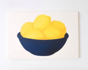 LEMONS - Bowl of Lemons PAINTING - Yellow Lemons Art - Lemons In Blue Bowl Painting - Lemon Housewarming Gift - Lemons Still Life Painting