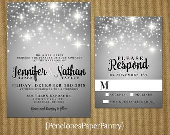 Winter Wedding Invitation,Sparkling Snowflakes,Silver,Shimmery,Elegant,Traditional,Formal,Customize,Printed Invitations,Wedding Set,Opt RSVP