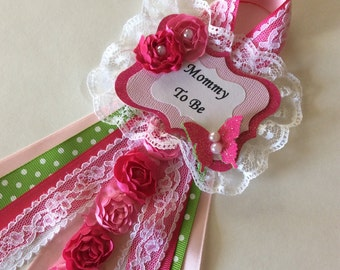 Pink and green baby shower corsage/Butterfly baby shower corsage/Girl baby shower corsage/Mommy to be pin