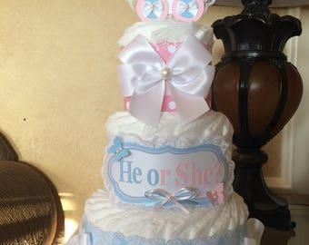 Gender reveal diaper cake/Gender reveal centerpiece
