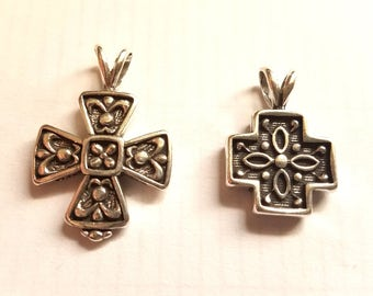 Sterling Silver Celtic Pendant - Heraldry Coptic Cross - Two Designs - 925 Most Popular Religious Jewelry Finding Charms