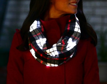 Firefly LED Infinity Scarf **PATENTED** Cabin Plaid with LED Lights