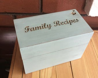 Wood recipe box - rustic distressed family recipes box in vintage blue