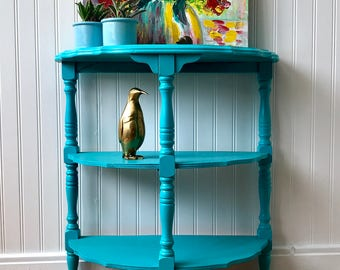 Shabby Turquoise Table, Cottage Chic Half Table, Teal Blue Coastal Beachy Side Table, Antique Accent Table, French Country Farmhouse Table