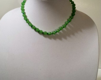 Green beaded necklace with chain