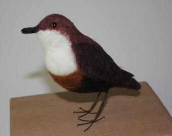 Needlefelted Dipper, bird, spring, needle felted bird, wool felt bird, wool sculpture, animals, birds, ornament, natural,