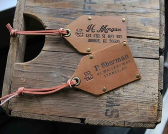 The Traveler Personalized Leather Luggage Tag, Travel Tag, Leather Tag, Corporate Gifts, rustic Tag