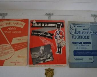 Vintage Sheet Music-Music Books-Piano Sheet Music-French Horn Sheet Music-Drum Sheet Music- Lot of 3
