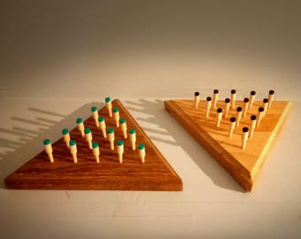 Wood Triangle Peg Game IQ Tester