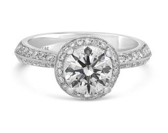 0.57ct Side Diamonds in 14K White Gold Semi Mount Halo Basket Engagement Ring (NO CENTER STONE)