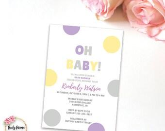 Oh Baby Purple Grey Yellow Baby Shower Invitation Printable Digital