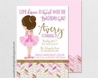 Ballerina, Ballet, Dance & Twirl Birthday Party Invitation 3, Customized, Digital File