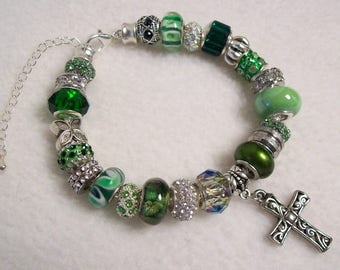 St Patrick's Day Bracelet, European Style Charm Bracelet, Green Big Hole Beads, St Patricks Day Jewelry, Cross Jewelry, Christian Jewelry