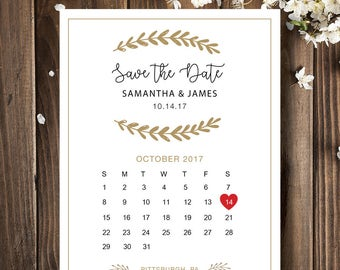 Printable Calendar Save the date Template heart date save the