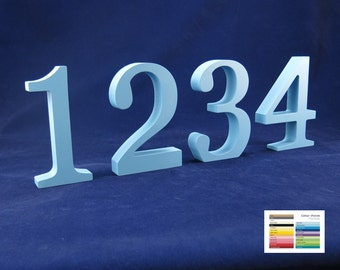 "30cm/12"" Table Numbers 25 colour options wooden free standing for weddings celebrations parties and special events"