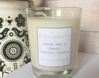 Handmade Sweet Pea and lemon Soy wax Candle, Birthday Gift, Gift for the home.
