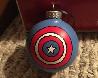 Sale READY TO SHIP Captain Amercia Hand Painted Ornament 3x3
