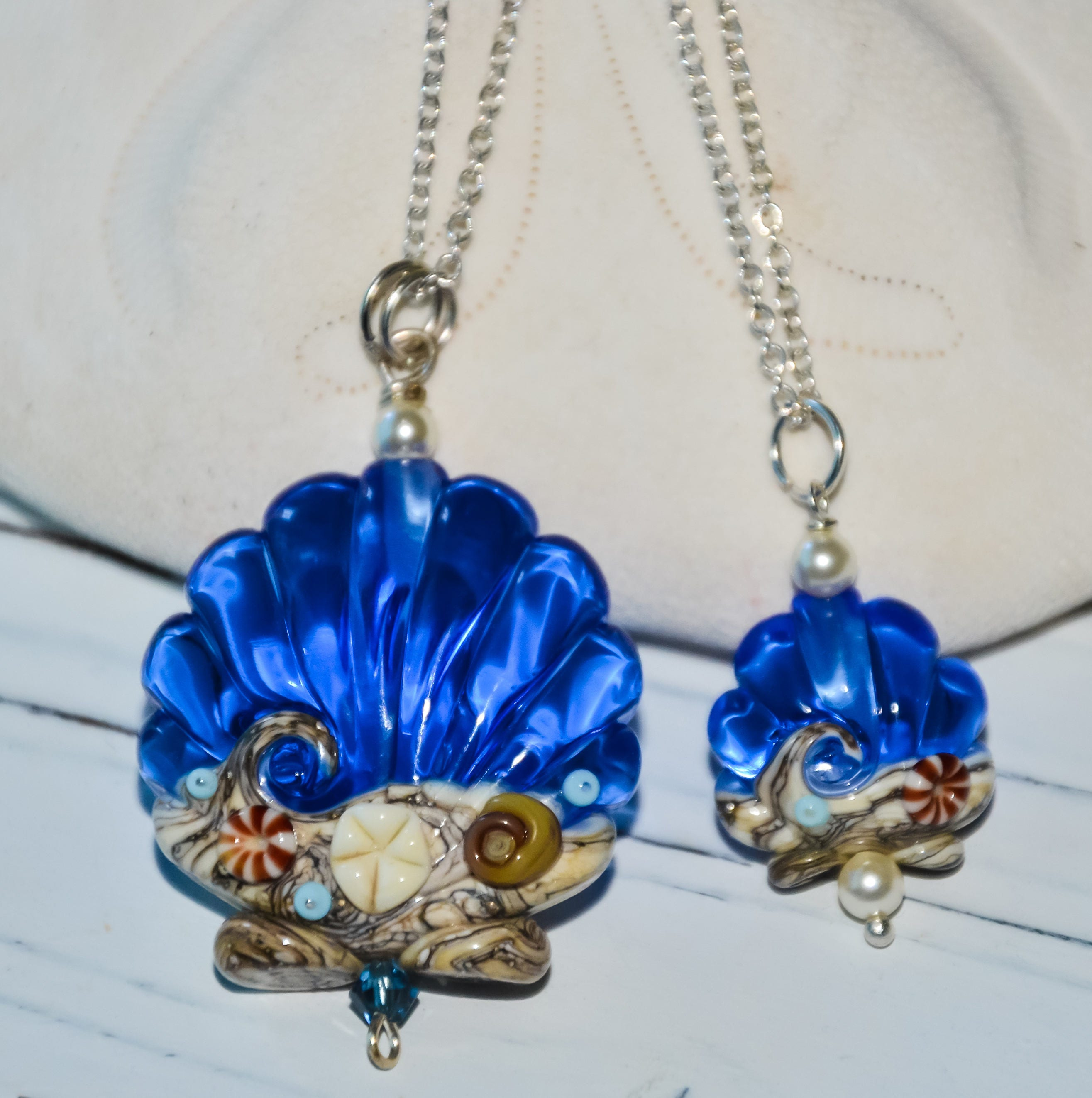 Make Your Own Seashell Jewelry: Large Blue Seashell Necklace Ocean Necklace Set Beach Necklace