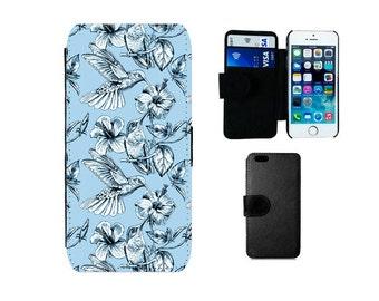 Wallet case iPhone 6 6S 7 8 Plus X SE 5S 5C 4S, Samsung Galaxy Flip S8 Plus, S7 S6 Edge, S4 S5 Mini Note 5 humming birds phone cover F270