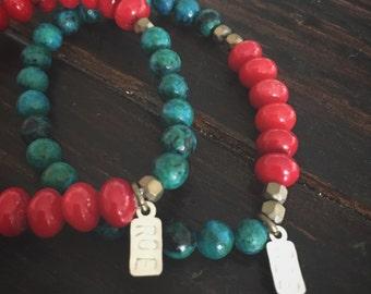Australian Jasper & Red Coral bracelets