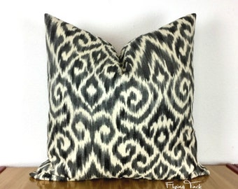 Charcoal Gray, Pewter, and Black Ikat Pillow cover on Ivory Background - Knife Edge finish -  Same Fabric Both Sides