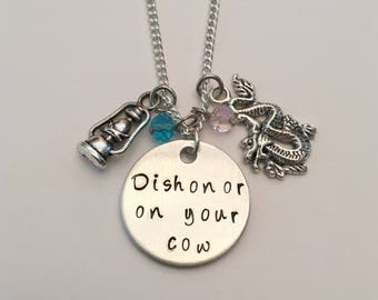 Dishonor on Your Cow Mulan Mushu Inspirational Disney Princess Inspired Hand Stamped Charm Necklace