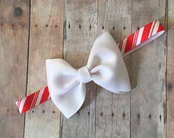 Candy Cane Striped Headband, Christmas  Headband, Christmas Bow Headband