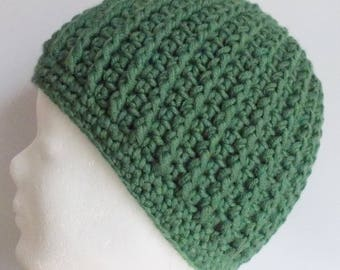 ribbed beanie, hat, wooly hat, green, crochet
