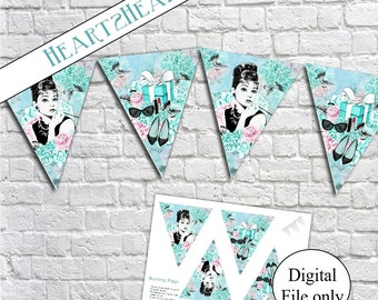 Digital Audrey Hepburn Breakfast at Tiffany's Bunting Banner Garland - Party,Birthday,Wedding,Bridal Shower,Printable,Decoration