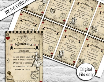 8 Alice in Wonderland Quote Cards - Digital,Download,Printable,Tags,Toppers,Craft,Party