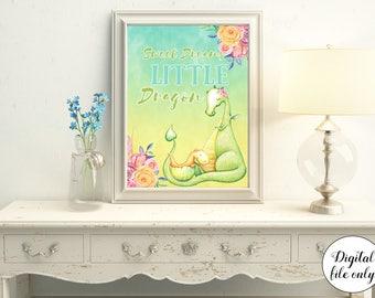 Sweet Dreams Little Dragon Nursery Print - Digital Download,Printable,Fairytale,Baby Decor