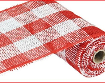 "10""X10yd Red/White Woven Check Paper Mesh/Wreath Supplies/Paper Mesh/RR800234"