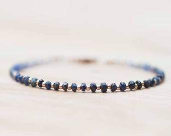 Sapphire Bracelet with Rose Gold Filled or Sterling Silver, Delicate Shaded Sapphire Bracelet, Blue Sapphire Jewelry, Beaded Ombre Bracelet