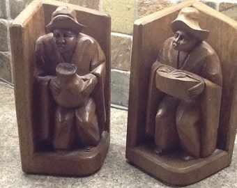 Solid wood carved book ends