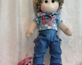 Boy doll and his dinosuar /tilda/waldorf inspired cloth doll