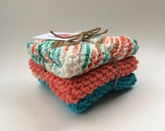 Dishcloth Trio, 100% cotton, Hand Knit, Machine Washable, Cooking Gift, Kitchen Gift, Cotton Dishcloth, Teacher Gift, Christmas Gift