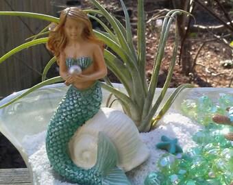 Mermaid on shell with Pearl -  Miniature figurine  DIY Succulent /Terrarium  mini beach ocean fairy dish garden supplies accessories