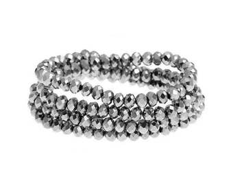 150 beads faceted glass crystal silver 4x3mm