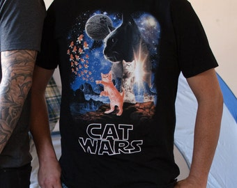 Cat Wars (WTE0129-501BLK) Men's T-shirt. Men's t-shirt, cats, star wars, funny cat tee, cat lover, funny animal tees, cat t-shirt